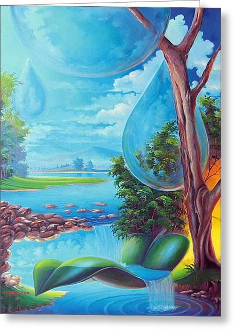 Planeta Agua Greeting Card by Leomariano artist BRASIL