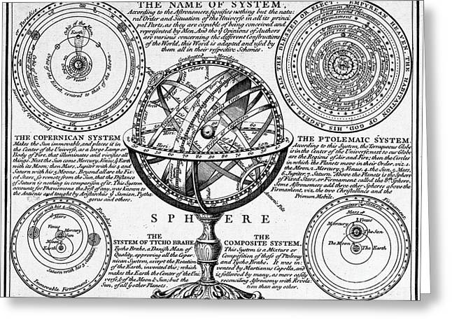 Planetary Systems And Armillary Sphere Greeting Card by Wellcome Images