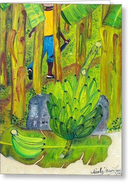 Greeting Card featuring the painting Plantain Farmer's Pride by Nicole Jean-louis