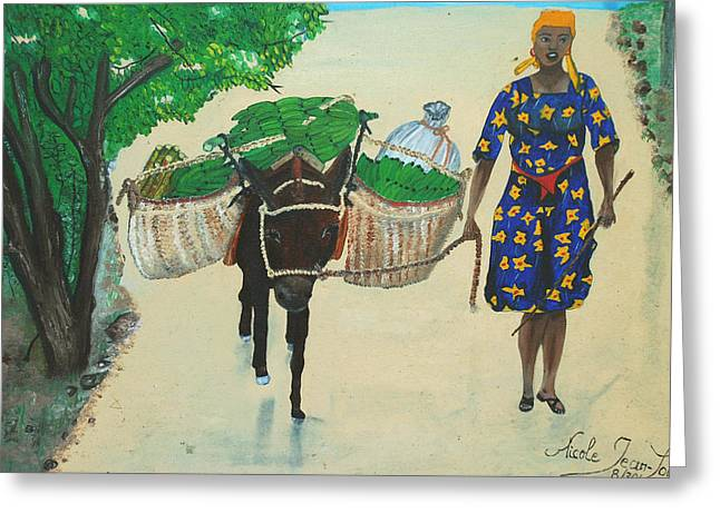 Greeting Card featuring the painting Plantain Merchant Woman by Nicole Jean-Louis