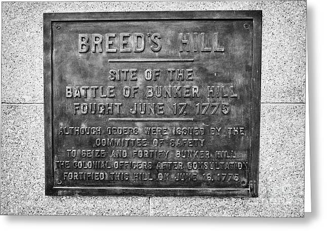 plaque on bunker hill monument breeds hill charlestown Boston USA Greeting Card