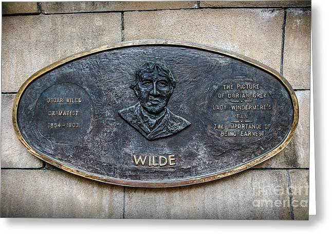 Plaque Remembering Oscar Wilde In Dublin Greeting Card by RicardMN Photography