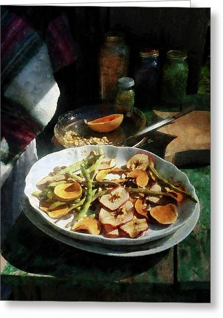 Plate Of Dried Fruits And Vegetables Greeting Card