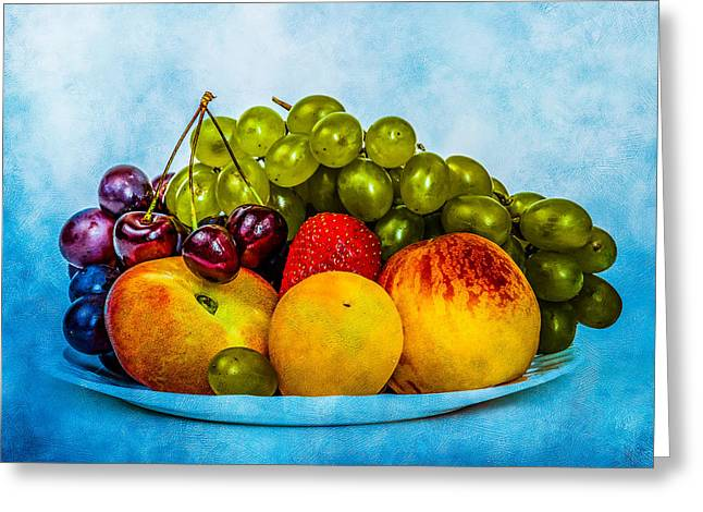 Plate Of Fresh Fruits Greeting Card
