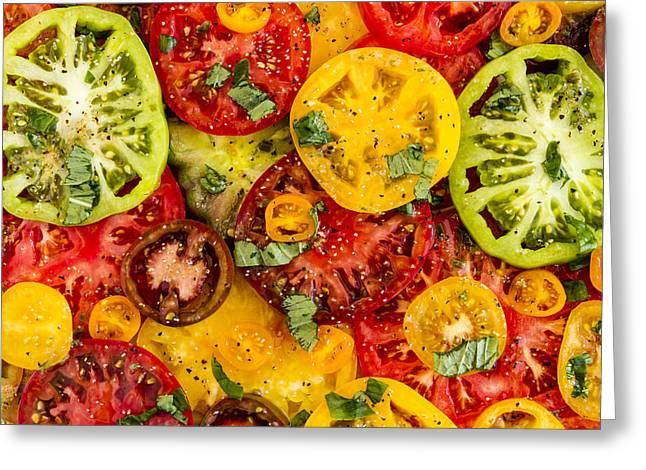 Plate Of Heirloom Tomatoes Greeting Card by Teri Virbickis