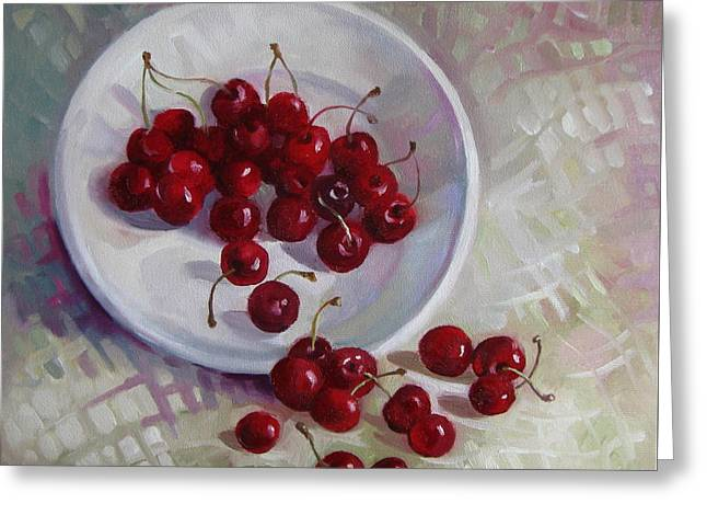 Plate With Cherries Greeting Card