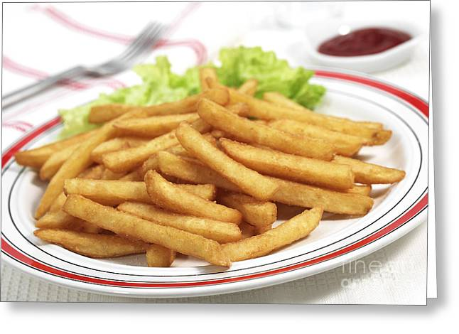 Plate With French Fries And Salad Greeting Card by Gerard Lacz