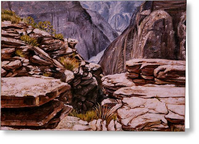 Greeting Card featuring the painting Plateau Point by Rosencruz  Sumera