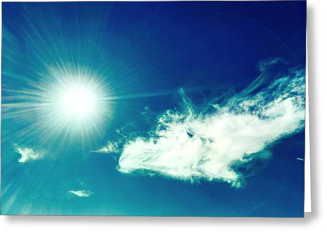 Platinum Rays And Angelic Cloud Bless The Prairie Greeting Card