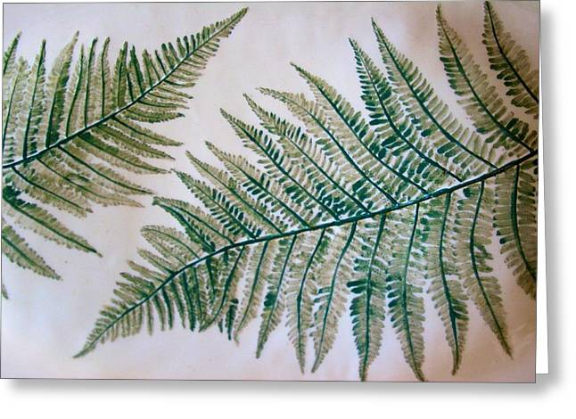 Platter With Ferns Greeting Card
