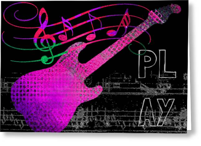 Greeting Card featuring the digital art Play 5 by Guitar Wacky