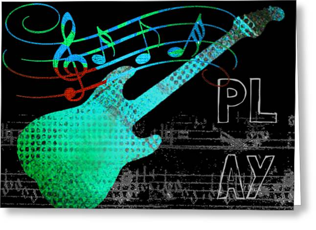 Greeting Card featuring the digital art Play 4 by Guitar Wacky