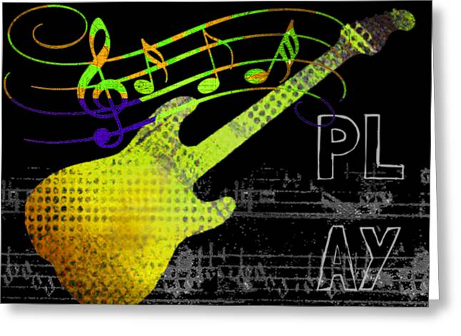 Greeting Card featuring the digital art Play 2 by Guitar Wacky