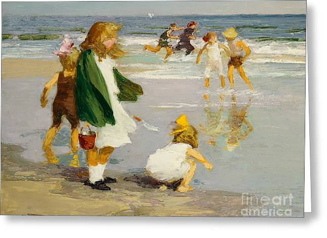 Innocence Paintings Greeting Cards - Play in the Surf Greeting Card by Edward Henry Potthast