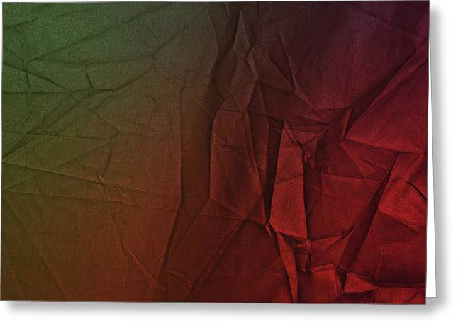 Play Of Hues. Dark Olive Green And Firebrick Red. Textured Abstract Greeting Card
