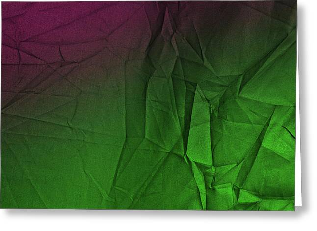 Play Of Hues. Luminous Green And Tyrian Purple. Textured Abstract Greeting Card