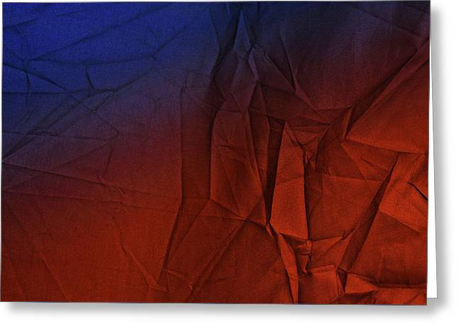 Play Of Hues. Medum Blue And Orange Red. Textured Abstract Greeting Card