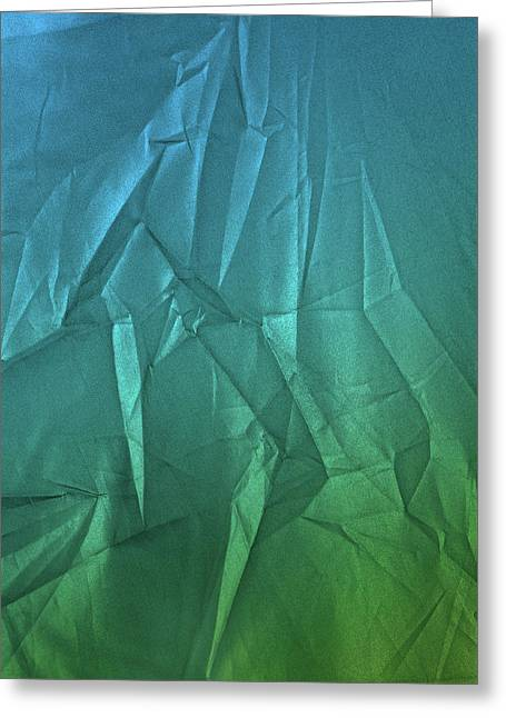 Play Of Hues. Metallic Steel Blue And Spring Green. Textured Abstract Greeting Card