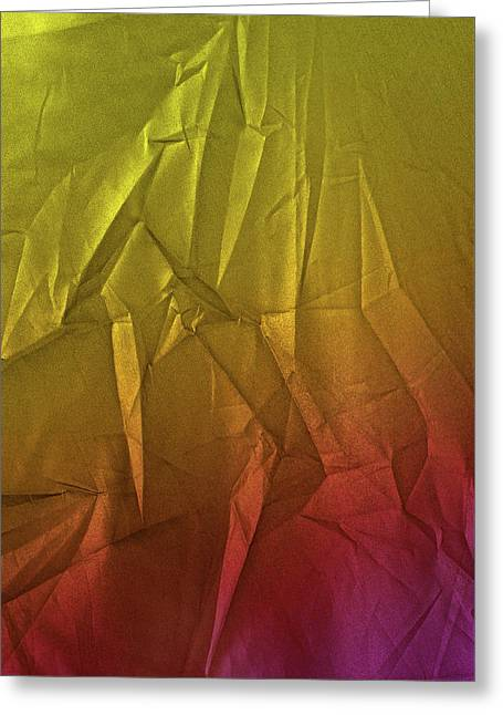 Play Of Hues. Metallic Yellow Lime And  Orange Magenta. Textured Abstract Greeting Card