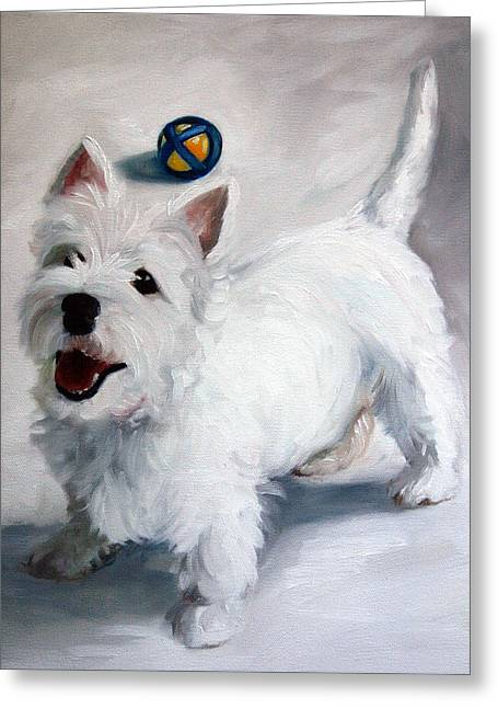Westie Cards Greeting Cards - Play Please Greeting Card by Mary Sparrow