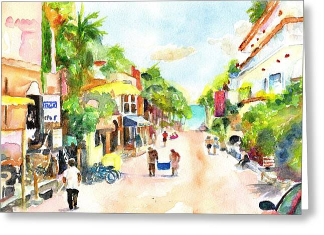 Playa Del Carmen Mexico Shops Greeting Card