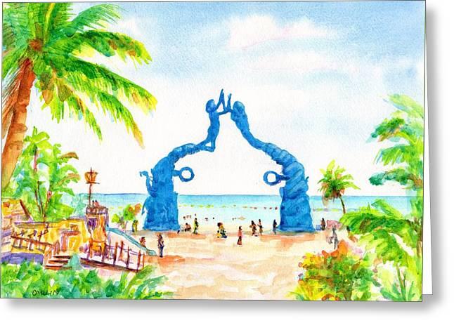 Playa Del Carmen Portal Maya Statue Greeting Card