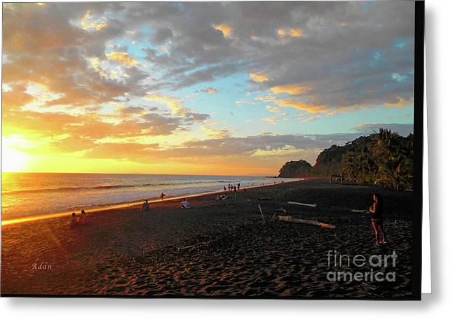 Playa Hermosa Puntarenas Costa Rica - Sunset A One Greeting Card by Felipe Adan Lerma
