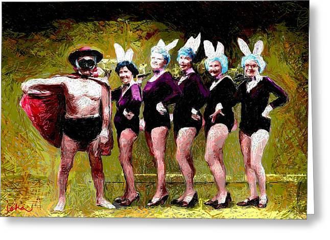 Playboy And Bunnies Greeting Card