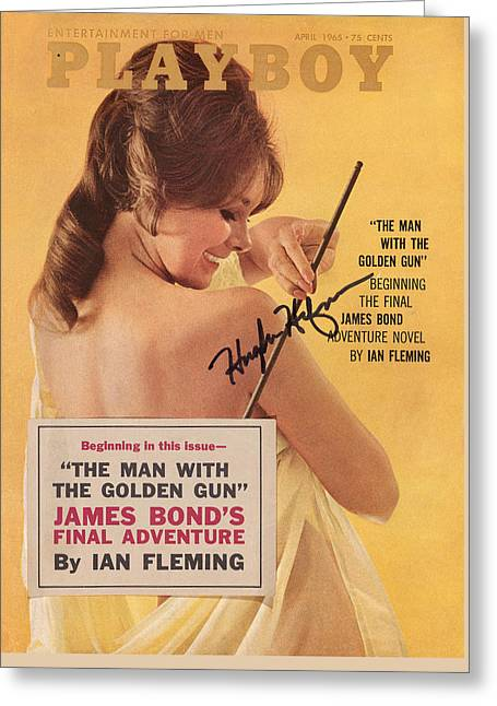 Playboy Magazine Poster Signed Greeting Card