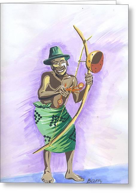 Greeting Card featuring the painting Player Umuduri From Rwanda by Emmanuel Baliyanga