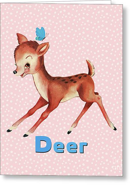 Playful Baby Deer Pattern Greeting Card by Tina Lavoie