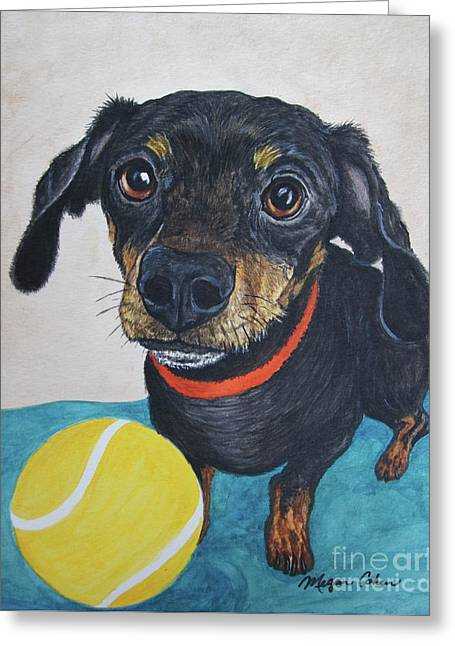 Playful Dachshund Greeting Card by Megan Cohen