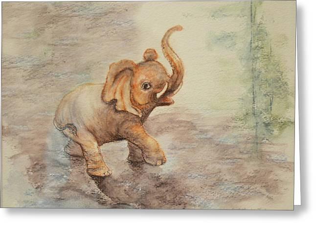Playful Elephant Baby Greeting Card