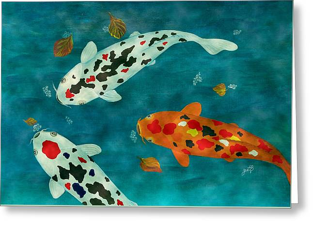 Greeting Card featuring the painting Playful Koi Fishes Original Acrylic Painting by Georgeta Blanaru