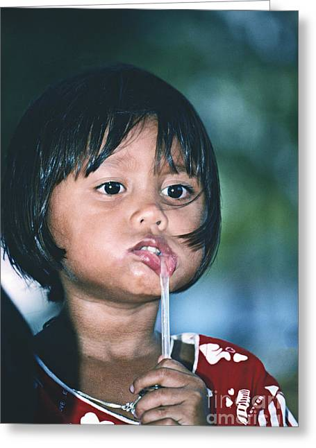 Greeting Card featuring the photograph Playful Little Girl In Thailand by Heiko Koehrer-Wagner