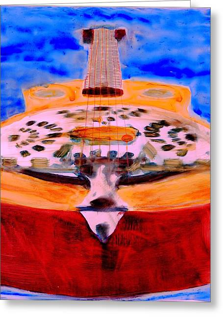 Greeting Card featuring the painting Playin The Blues by FeatherStone Studio Julie A Miller