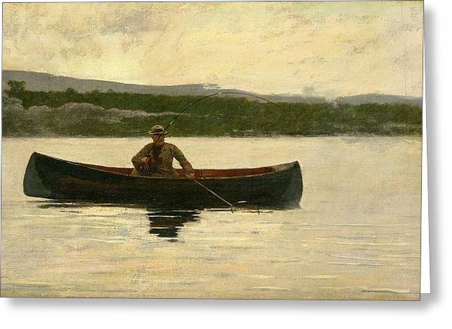 Boats On Water Greeting Cards - Playing a Fish Greeting Card by Winslow Homer