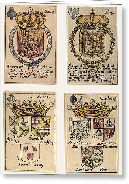 Playing Cards Greeting Cards - PLAYING CARDS, c1750 Greeting Card by Granger