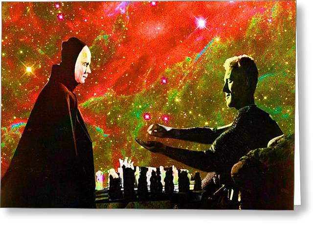 Playing Chess With Death Greeting Card by Matthew Lacey