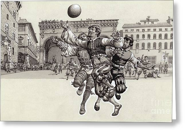 Playing Football In Florence  Greeting Card