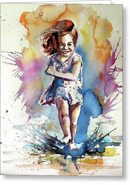 Greeting Card featuring the painting Playing Girl by Kovacs Anna Brigitta
