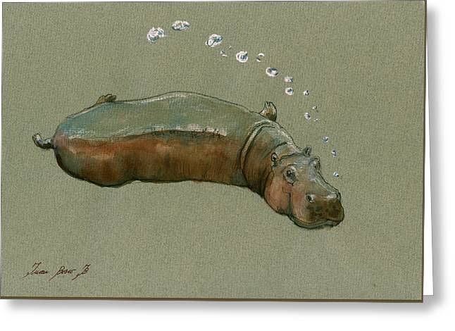 Playing Hippo Greeting Card by Juan  Bosco