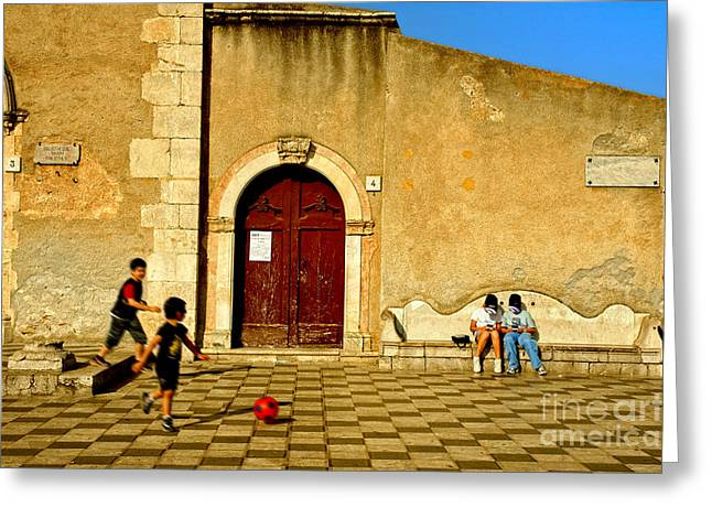 Silvia Ganora Greeting Cards - Playing in Taormina Greeting Card by Silvia Ganora