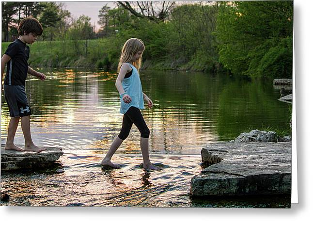 Playing In The Riffles At Forest Park Greeting Card by Garry McMichael