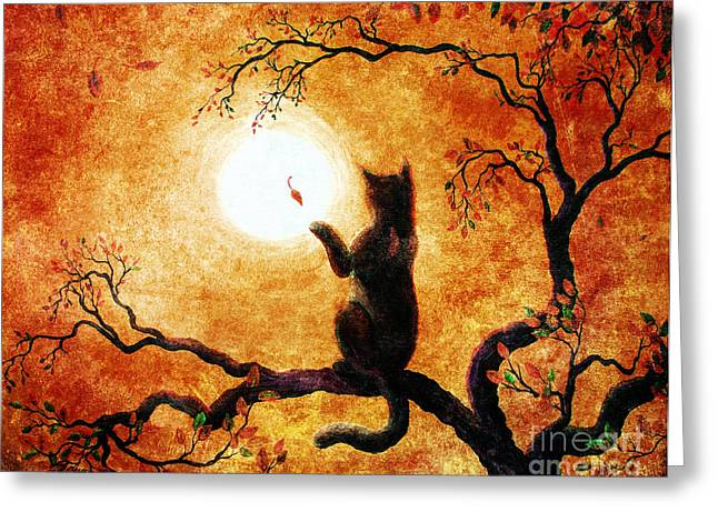 Zen Greeting Cards - Playing on Halloween Afternoon Greeting Card by Laura Iverson