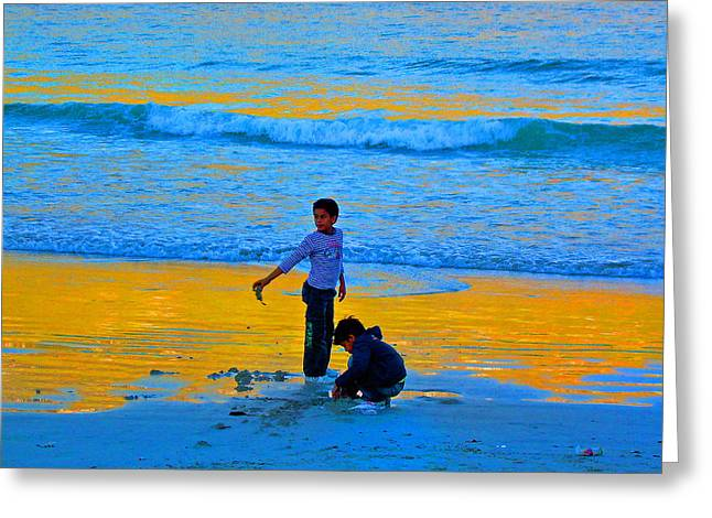 Playing On The Beach Greeting Card by Michael Durst