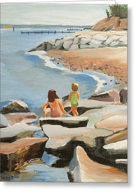 Playing On The Jetties Greeting Card