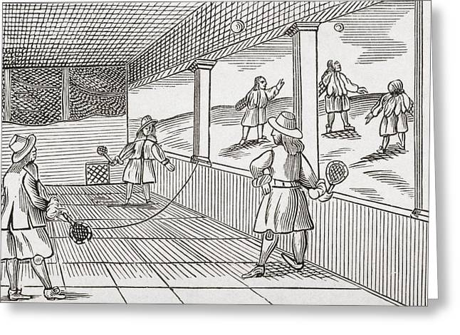 Playing Tennis In The Sixteenth Greeting Card by Vintage Design Pics