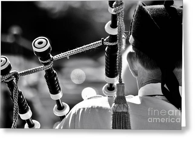 Playing The Pipes Greeting Card by Niko Chaffin