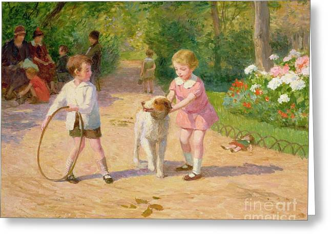Toy Dogs Greeting Cards - Playing with the Hoop Greeting Card by Victor Gabriel Gilbert